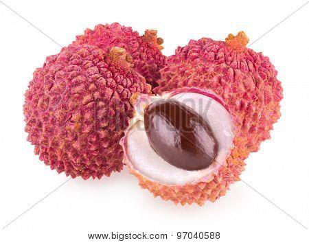 ripe lychee isolated on white background