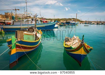 colorful fishing boat in the bay near Marsaxlokk in Malta