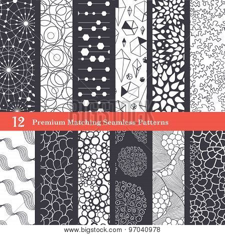 Abstract Textures Black and White Set of 12 Seamless Patterns