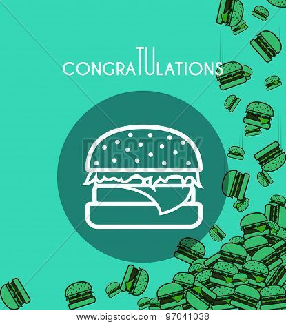 Background with falling burgers and overlay colors for design