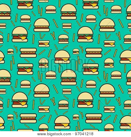 Seamless pattern of burgers and fries on turquoise background