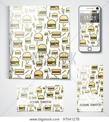 Branded product design with the background of hamburgers