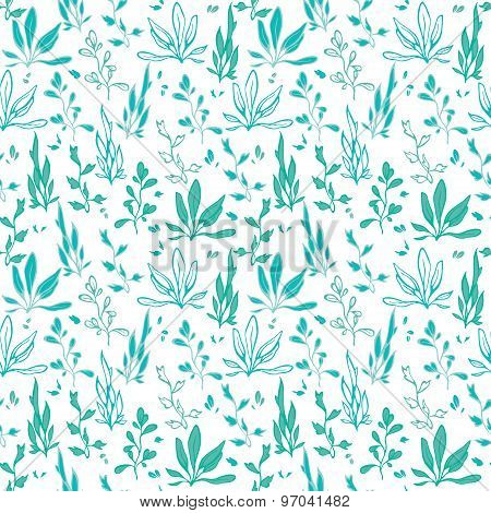 Vector Blue Green Hand Drawn Seawedd Underwater Seamless Pattern