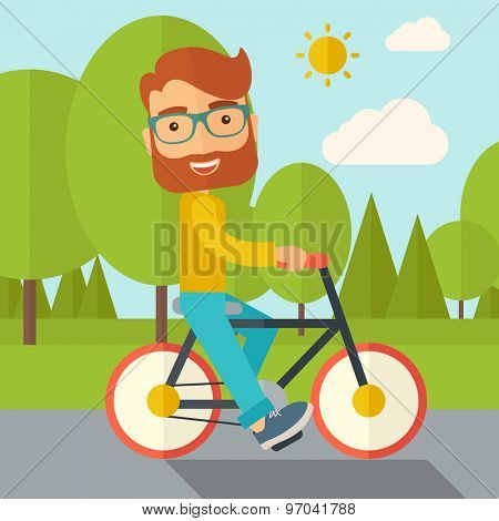 A happy caucasian riding a bicycle under the sun. Contemporary style with pastel palette, soft blue tinted background with desaturated cloud. Vector flat design illustrations. Square layout.