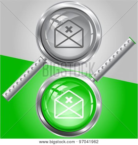 mail cancel. Vector magnifying glass.