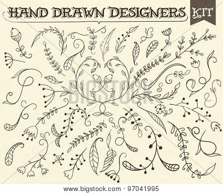 Hand Drawn vintage floral elements. All elements by layers