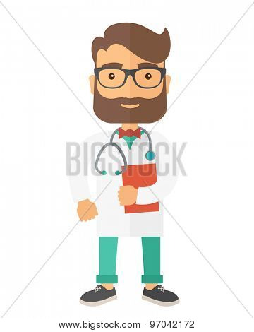 A Young male caucasian doctor standing beside the door with stethoscope and clipboard. A Contemporary style. Vector flat design illustration isolated white background. Vertical layout.