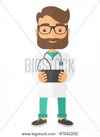 A Physician holding the result in x-ray. A Contemporary style. Vector flat design illustration isolated white background. Vertical layout