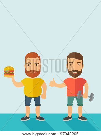 A two handsome caucasian men wearing shorts and sleeveless the yellow shirt with hamburger and the red shirt with dumbell. Contemporary style with pastel palette, soft blue tinted background. Vector