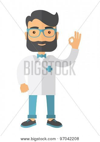 A friendly caucasian Doctor shows sign all ok. A Contemporary style. Vector flat design illustration isolated white background. Vertical layout.