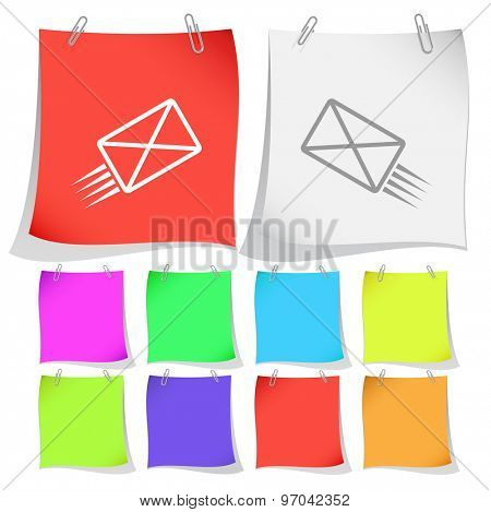 send mail. Vector note papers.