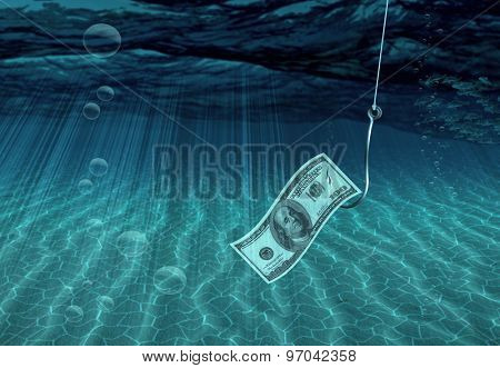 One Hundred Dollar Bill on Fish Hook