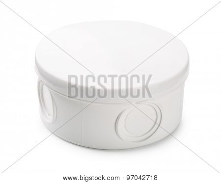 Waterproof plastic junction box isolated on white
