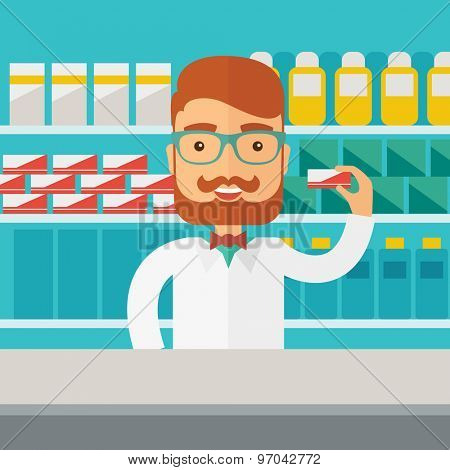 A Young  pharmacy chemist man standing in drugstore. Contemporary style with pastel palette, blue tinted background. Vector flat design illustrations. Square layout.