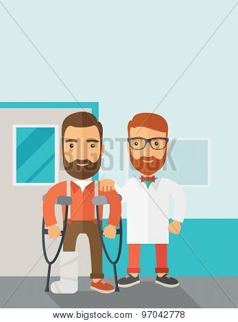 An injured man in crutches assisted by a doctor. Safety concept. Contemporary style with pastel palette, soft blue tinted background. Vector flat design illustrations. Vertical layout with text space