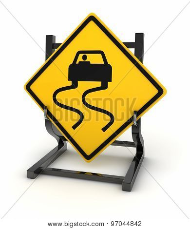 Road Sign - Slippery Road Ahead