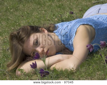 Girl With Pasque-flowers