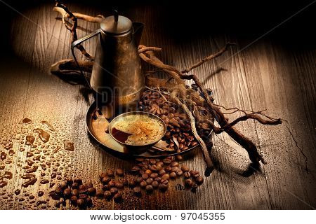 Old Jar And Cup Of Coffee