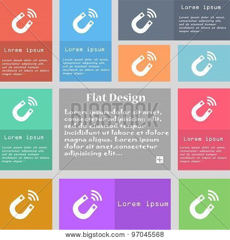 Magnet Icon Sign. Set Of Multicolored Buttons With Space For Text. Vector