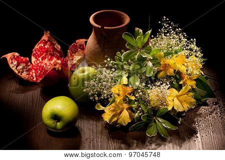 Still Life With Flowers And Apples
