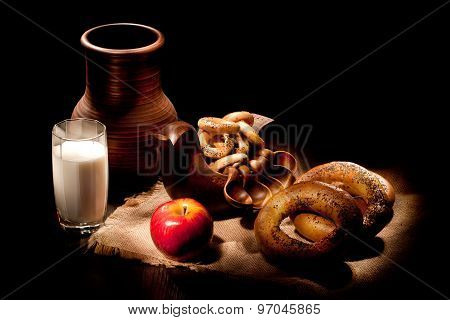 Still Life With Milk And Bread