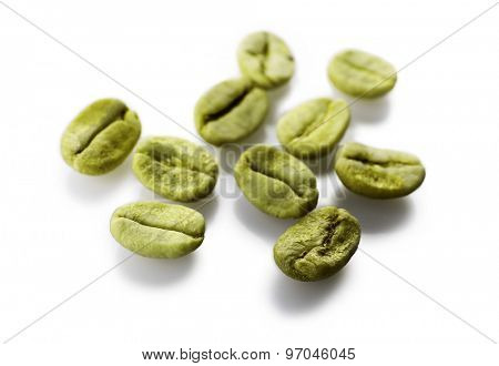 Heap of green coffee beans isolated on white