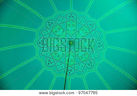 Pattern inside dome of Sultan Haji Ahmad Shah Mosque a.k.a UIA Mosque in Gombak, Malaysia