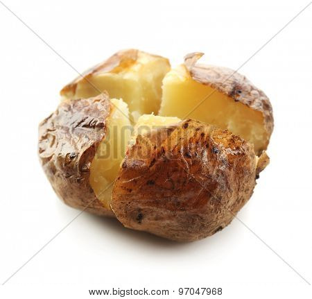 Baked potato isolated on white
