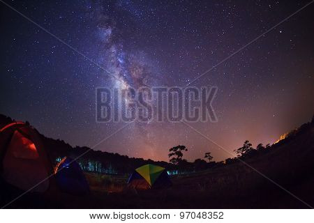 Silhouette Of Tree With Tent And Milky Way. Long Exposure Photograph.