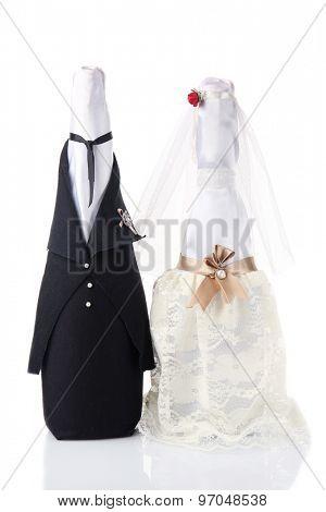 Wedding decoration of champagne bottles isolated white