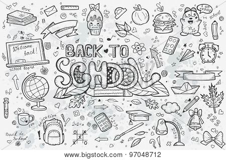 A Large Set Of Vector Hand-drawn Doodles Back To School.