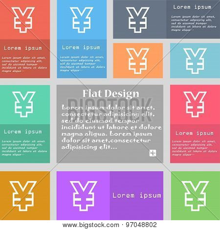 Yen Jpy Icon Sign. Set Of Multicolored Buttons With Space For Text. Vector