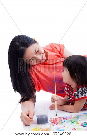 Mother With Child Girl Draw And Paint Together, On White Background