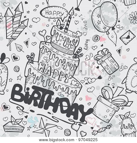 Seamless Texture Of The Birthday With A Cake, Balloons, Rockets, Cartoon Characters