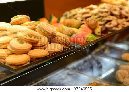 Fresh pastry. Marzipan, cookie, biscuit, candy on are displaying in the window as bait. Traditional Sicilian cuisine.