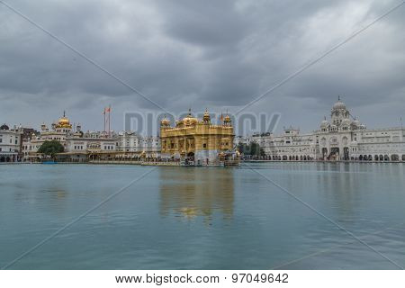 AMRITSAR, INDIA - 01 MARCH 2015: Pilgrims at the Golden Temple, the holiest Sikh gurdwara in the world.