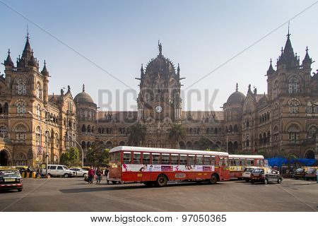 MUMBAI, INDIA - 17 JANUARY 2015: Chhatrapati Shivaji Terminus is a UNESCO World Heritage Site and historic railway station. It serves as headquarters of the Central Railways.
