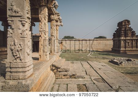 HAMPI, INDIA - 30 JANUARY 2015: Ruins of Hampi are a UNESCO World Heritage Site. Post-processed with grain, texture and colour effect.