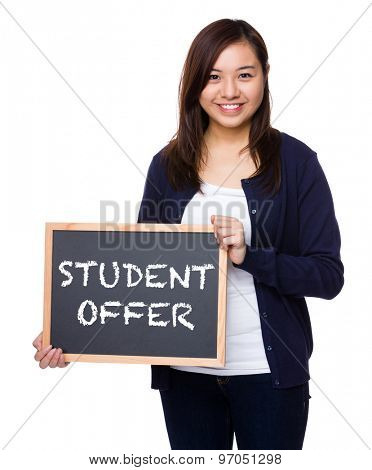 Woman showing the chalkboard with student offer