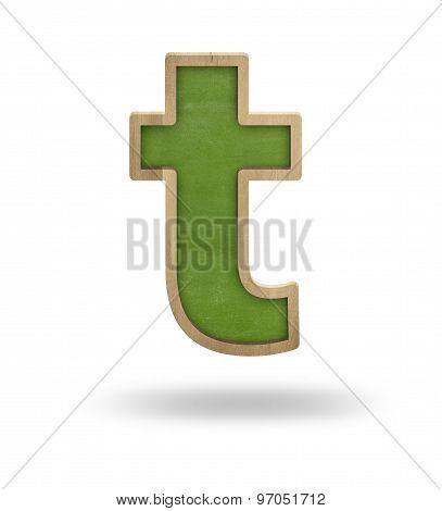 Green blank letter t shape blackboard