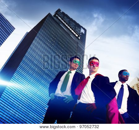 Superhero Business People Strength Cityscape Cloudscape Concept