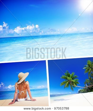 Woman Summer Beach Relaxation Vacation Concept