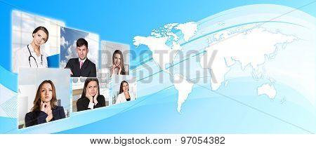 Light blue world map
