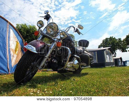 Big Classical Motorcycle In Camping
