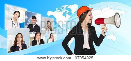 Agitation business woman