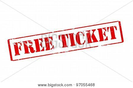 Rubber stamp with text free ticket inside vector illustration