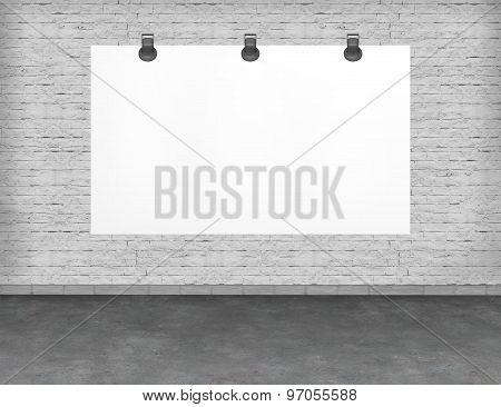 Large blank, empty, white billboard screen.