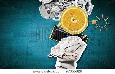 Concept of refreshment with orange instead of businesswoman head
