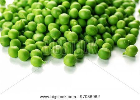 Heap of fresh green peas close up