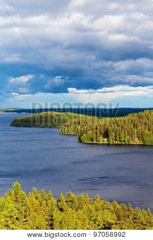 Nature, View From The Mountains To The Lakes And Forest In The Sunlight